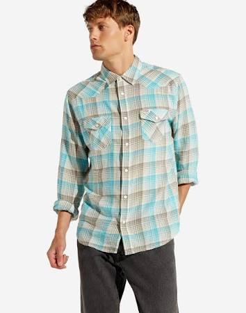 Azul Hombre Talla Wrangler Plume L Camiseta Western F86qgI