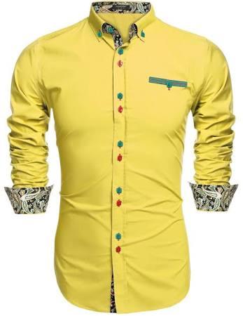 Slim Herrenmode gelb Casual Shirt Coofandy Fit 01 Dress 56WaBdqnR