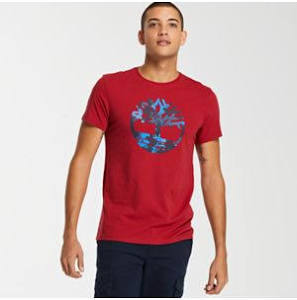 Lineal Tropical Camiseta Con Slim Fit Timberland Hombre Rojo Para Logo C4wq0ZPt